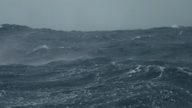 From a boat sailing in a stormy rough sea