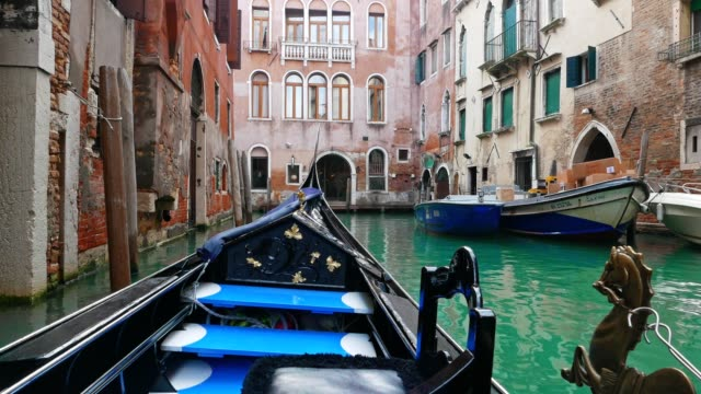POV from a gondola in Venice, Italy, city of romance, floating in the Venetian canals, typical venetian sight, part of series, travel destinations, lagoon