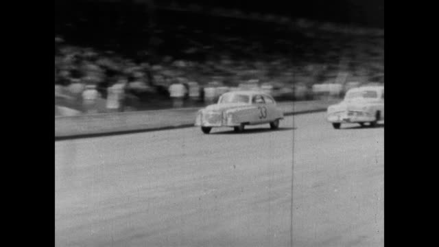 /From a Nash promotional film this short segment shows NASCAR driver Herschel Buchanan driving in 1950 dirt track races 1950 Nash Ambassador in dirt...