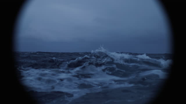 from a vessel in a blue rough sea at night: waves dark sea view - ferry stock videos & royalty-free footage