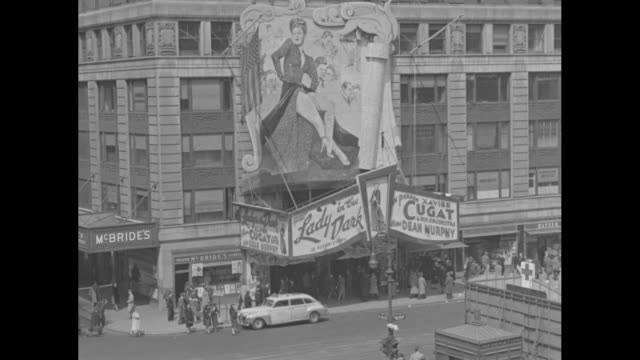 ls from across and above street marquee for lady in the dark with giant painting of ginger rogers above marquee at paramount theater cable cars and... - moving office stock videos and b-roll footage