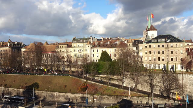 from aerial view of geneva old town and church - old town stock videos & royalty-free footage