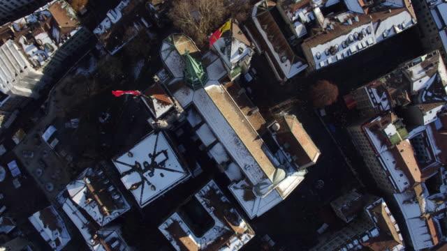 Van luchtfoto van Genève oude stad en kerk