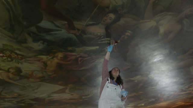 from april 1 visitors to the old royal naval college in greenwich will able to get a closeup view of the 18thcentury painted ceiling interview with... - royal navy college greenwich stock videos & royalty-free footage