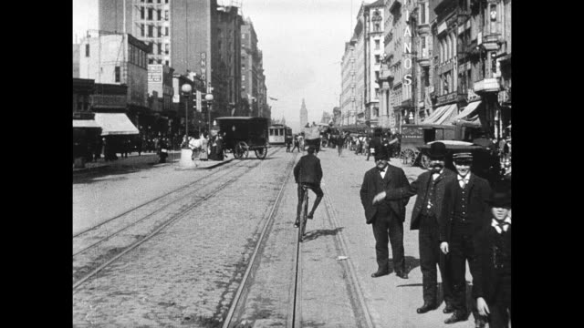 POV from cable car traveling east on Market Street toward the San Francisco Ferry Building Trip Down Market Street on April 01 1906 in San Francisco...