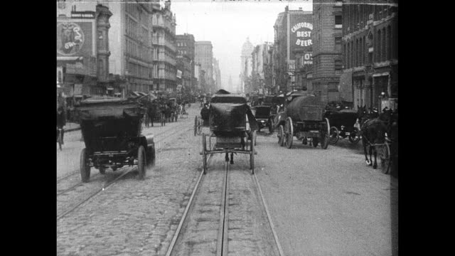 POV from cable car traveling east on Market Street toward the San Francisco Ferry Building A Trip Down Market Street on April 01 1906 in San...