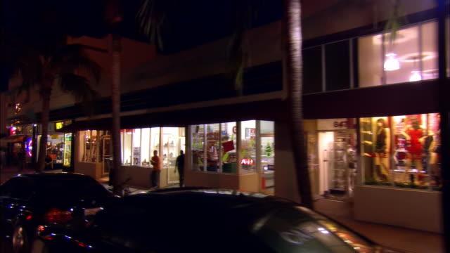 pov from car riding on washington avenue at night, south beach, miami, florida, usa - fan palm tree stock videos & royalty-free footage