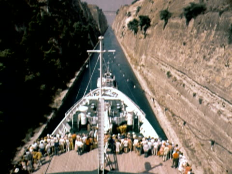 1960 tu from deck of passenger ship to view of corinth canal / corinth, greece - canal stock videos & royalty-free footage