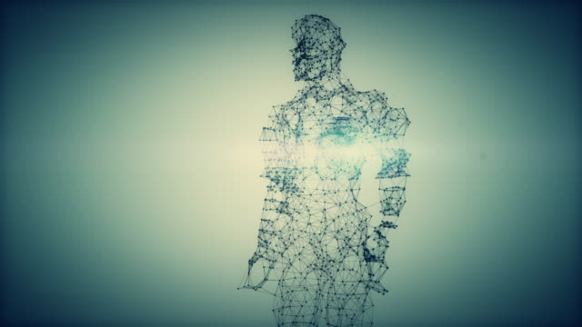 from dna to human figure - 4k green-blue version - evolution stock videos & royalty-free footage