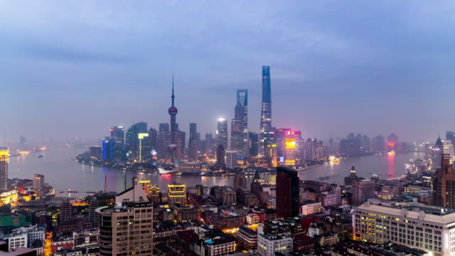 From dusk to night, panorama view of the buildings in Shanghai, China