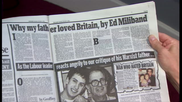from front cover, to inside double-page spread of daily mail story referring to ralph miliband - daily mail stock videos & royalty-free footage