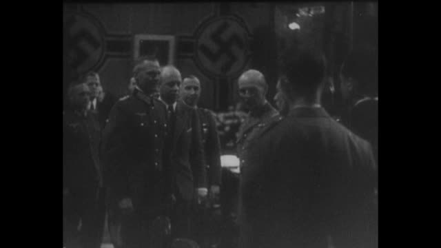 [from german film seized by canadian government vo in german] general carlheinrich von stulpnagel head of the german armistice commission issues nazi... - waffenstillstand krieg stock-videos und b-roll-filmmaterial