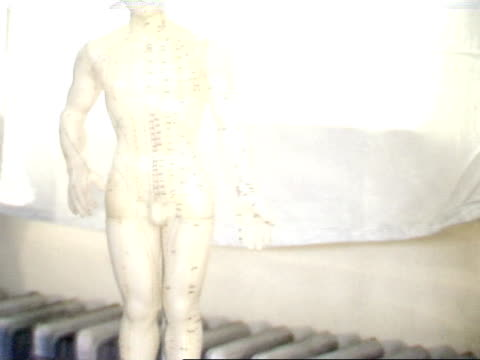 From hand to small male acupuncture model decorated w/ lines amp acupuncture points standing on table ZI feet