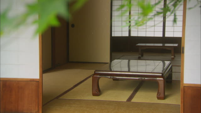 rf from cu leaves to ms living room with table/tokyo, japan - tatami mat stock videos and b-roll footage