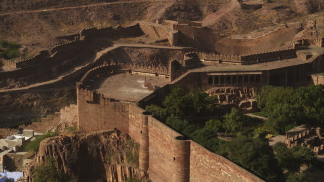 pan from lower mehrangarh fort to ha ws of jodhpur - fortress stock videos and b-roll footage