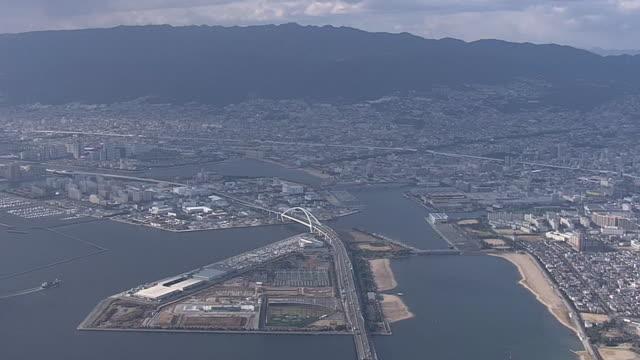 Aerial From Nishinomiya To Kobe Japan