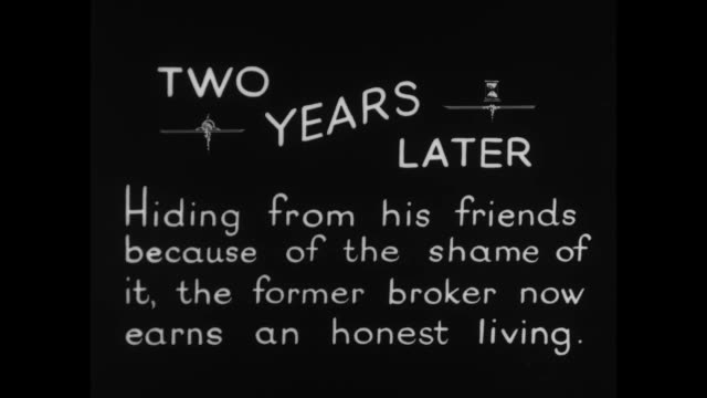 """[from paramount screen souvenirs, 1932] [vo humorous narration throughout] title card: """"two years later - hiding from his friends because of the... - handbag stock videos & royalty-free footage"""