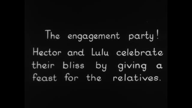 [From Paramount Screen Souvenirs 1932] [VO humorous narration throughout] Title card The engagement party Hector and Lulu celebrate their bliss by...