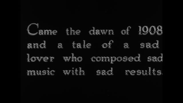 [from paramount screen souvenirs12 1933] title came the dawn of 1908 and a tale of a sad lover who composed sad music with sad results / no film clip... - film leader stock videos & royalty-free footage