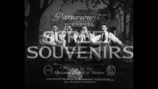 [From Paramount Screen Souvenirs12 1934] Title A Paramount Picture with mountain logo / Title card Paramount presents Screen Souvenirs passed by the...