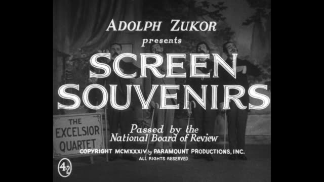 [from paramount screen souvenirs2 1934] title paramount varieties with mountain logo / title card adolph zukor presents screen souvenirs passed by... - 1934 bildbanksvideor och videomaterial från bakom kulisserna