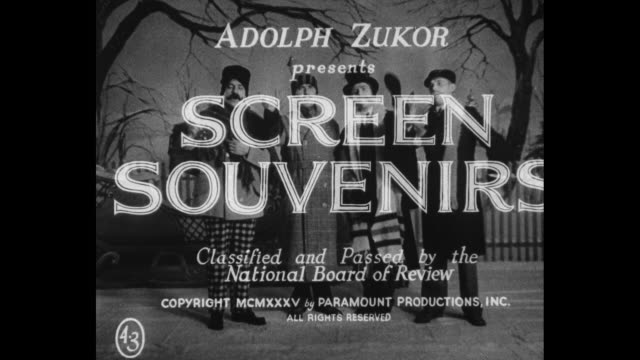 "[from paramount screen souvenirs-3, 1935] title: ""this picture approved by the production code administration of the motion picture producers &... - performing arts event stock videos & royalty-free footage"