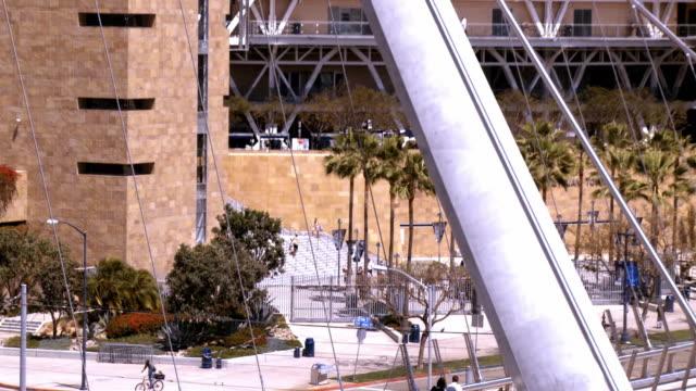 LS ZO from pedestrian crossing pedestrian bridge to WS Gaslamp Quarter and Petco Park  / San Diego, California, USA