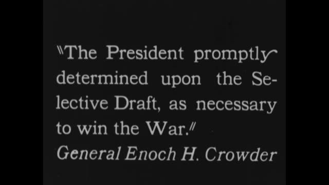 [from scrippshoward documentary about woodrow wilson] title card president wilson drafts our fighting men / vs pres woodrow wilson is blindfolded... - propaganda stock-videos und b-roll-filmmaterial