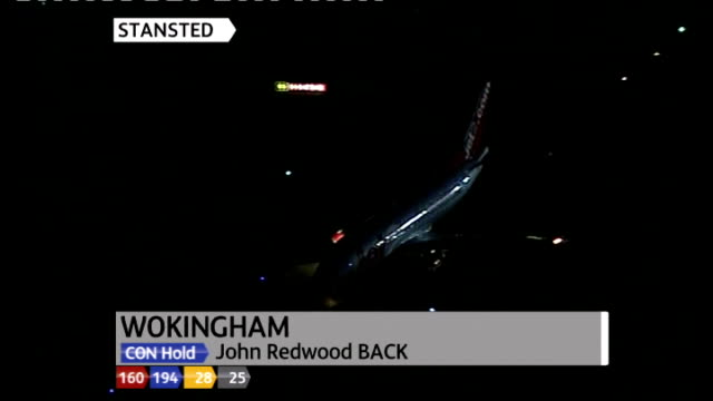 ext / night plane carrying gordon brown taxiing on runway with lucy manning phono interview overlaid sot london air view of car carrying david... - phono einzelwort stock-videos und b-roll-filmmaterial