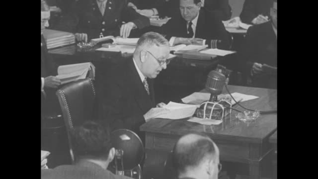 vídeos de stock e filmes b-roll de from testimony before the joint committee on the investigation of the pearl harbor attack, former head of the us naval fleet and pacific fleet and... - pacific war
