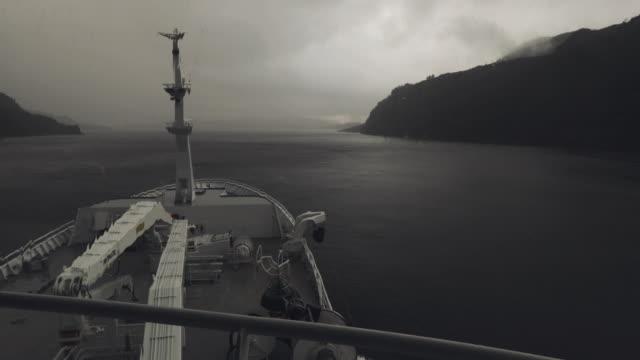 stockvideo's en b-roll-footage met vanaf de brug van een vissersboot in een nauwe doorgang - ruw