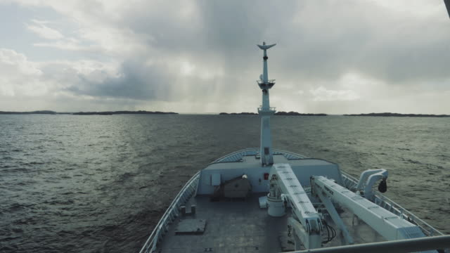 from the bridge of a fishing boat in open sea - nave passeggeri video stock e b–roll