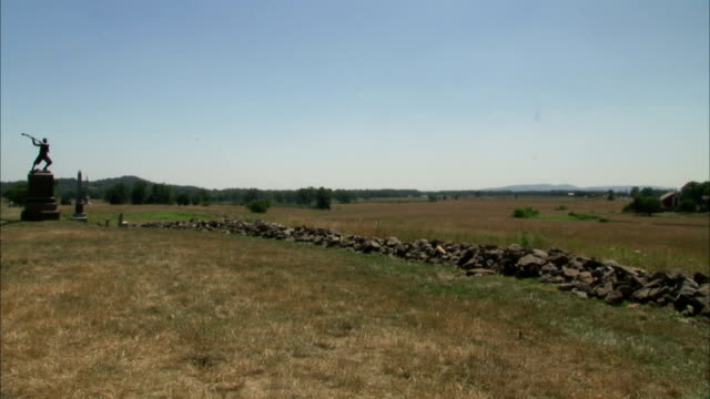 from third california regiment monument to wide expanse of the angle field w/ low stone wall american civil war union army infantry - gettysburg stock videos & royalty-free footage