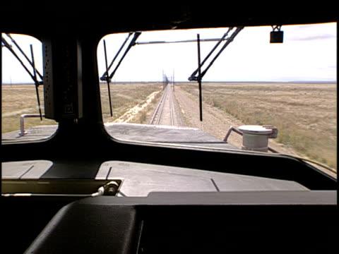 pov from train diver's cabin, pueblo, colorado, usa - pueblo colorado stock videos & royalty-free footage