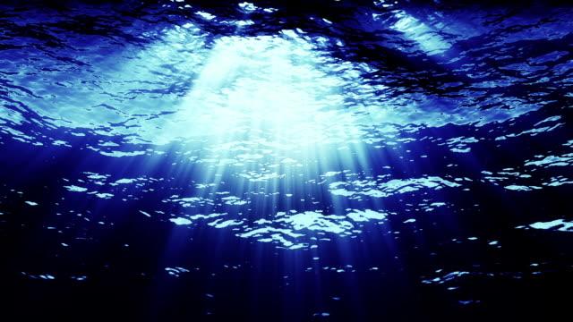 From underwater, blue light streaks down.