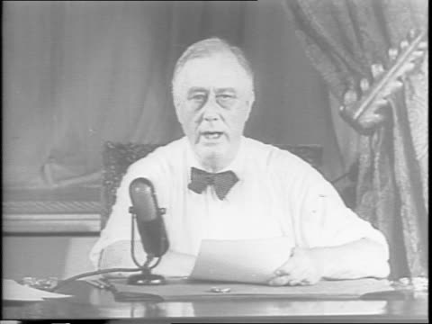 from washington dc president franklin roosevelt addresses the nation about the first crack in the axis italy surrendering / he talks about the terms... - surrendering stock videos & royalty-free footage