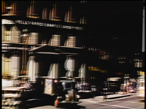 1941 pan from wells fargo bank building to market street / san francisco, ca / amateur industrial - wells fargo stock videos and b-roll footage