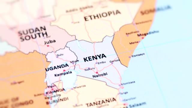 世界地図からアフリカ ケニア - 地理的地域 国点の映像素材/bロール