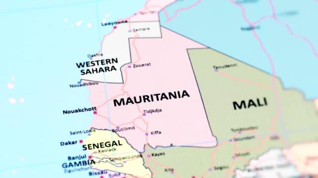 世界地図からアフリカのモーリタニア - ヌアクショット点の映像素材/bロール