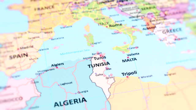 africa tunisia from world map - tunisia video stock e b–roll