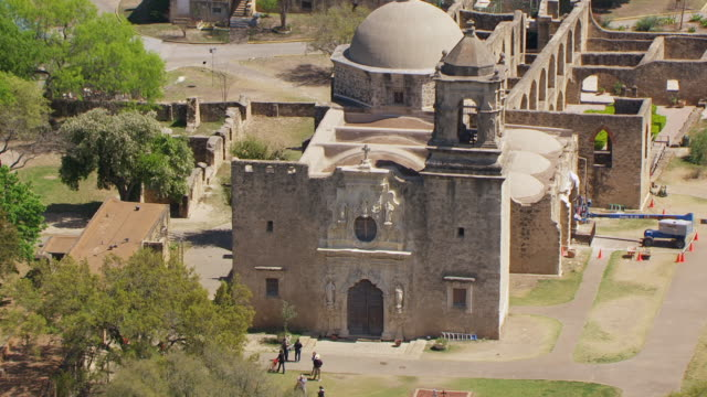 ms aerial ts front door mission san jose / san antonio, texas, united states - san antonio texas stock videos and b-roll footage