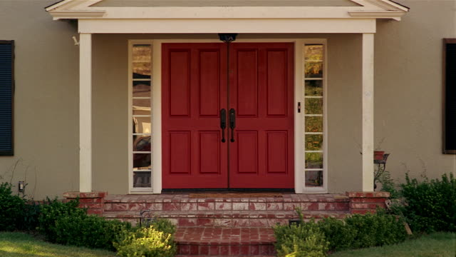 Front double doors of suburban house / Santa Barbara, California