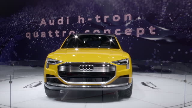 stockvideo's en b-roll-footage met front end of audi h-tron / rear view camera; driver side profile / rear view camera; front driver side fender / audi logo and h-tron license plate;... - quarter