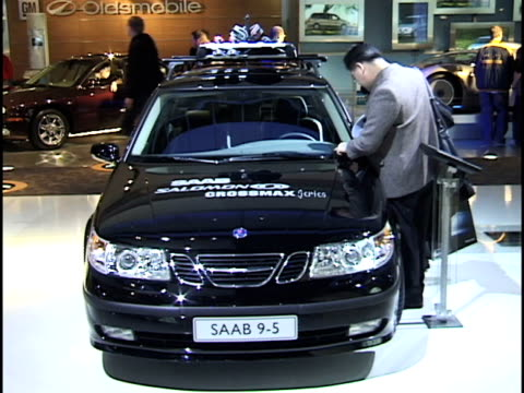 front end of saab aero sport wagon promoting the saab salomon crossmax series of skiercross events / front three-quarter passenger side view of saab... - three quarter length stock videos & royalty-free footage