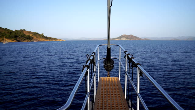 front end of the yacht. yacht tour. - floating moored platform stock videos & royalty-free footage