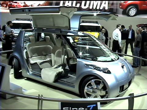 ws front end of toyota finet concept car / cu of interior looking through front windshield / cu headlight / ws front quarter passenger side view / ms... - swish pan stock videos & royalty-free footage