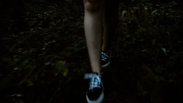 front low angle view of girl walking in the forest - open field stock videos & royalty-free footage