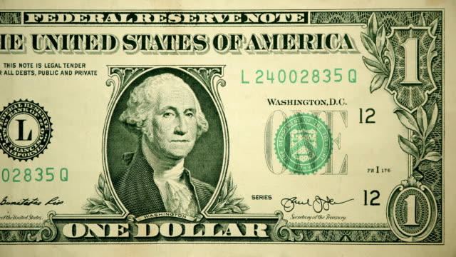 front of $1 dollar bill currency of the united states of america - us paper currency stock videos & royalty-free footage