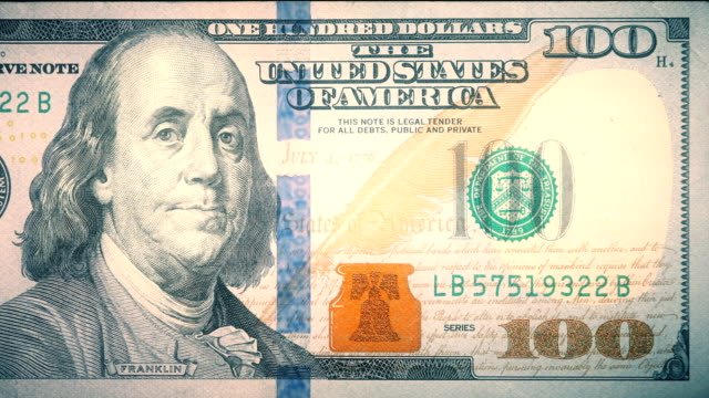 front of $100 dollar bill currency of the united states of america - benjamin franklin stock videos & royalty-free footage