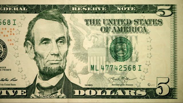 front of $5 dollar bill currency of the united states of america - number 5 stock videos & royalty-free footage